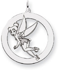 Tinkerbell Circle Pendant, 14K Solid White Gold