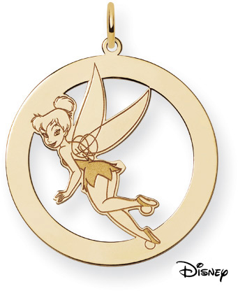 Tinkerbell Circle Pendant, 14K Solid Yellow Gold