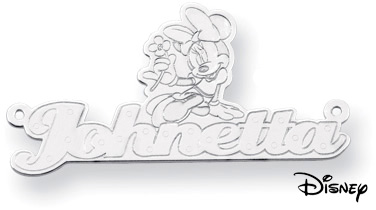 Personalized Minnie Mouse Name Pendant, 14K Solid White Gold (Pendants, Apples of Gold)