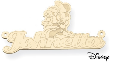 Personalized Minnie Mouse Name Pendant, 14K Solid Yellow Gold (Pendants, Apples of Gold)