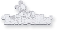 Personalized Mickey Mouse Name Pendant, Sterling Silver