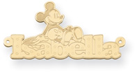Personalized Mickey Mouse Name Pendant, 14K Solid Yellow Gold