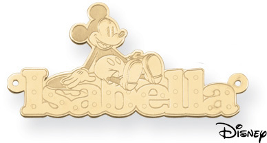 Personalized Mickey Mouse Name Pendant, 14K Solid Yellow Gold (Pendants, Apples of Gold)