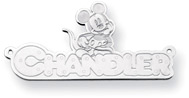 Personalized Mickey Mouse Name Pendant, 14K Solid White Gold