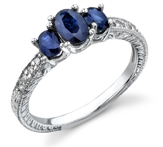 Three Stone Sapphire Engraved Ring, 14K White Gold