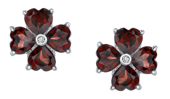 Garnet Heart Clover Earrings, 14K White Gold