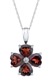 Garnet Heart Clover Pendant in 14K White Gold
