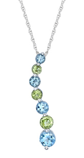Blue Topaz and Peridot Journey Pendant, 10K White Gold (Pendants, Apples of Gold)