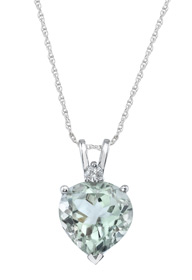 Buy Green Amethyst Heart Pendant, 14K White Gold