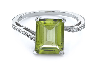 Buy Peridot and Diamond Emerald-Cut Ring
