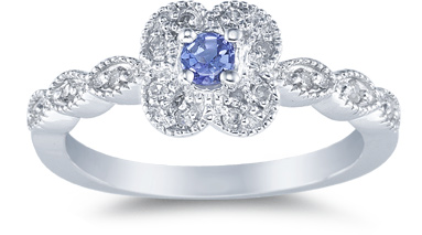 Buy Tanzanite Florette and Diamond Ring, 14K White Gold