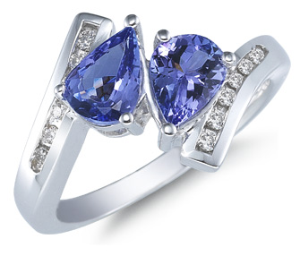 Buy Double Pear Shaped Tanzanite and Diamond Ring