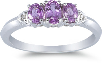 Buy Three Stone Pink Sapphire Ring, 14K White Gold