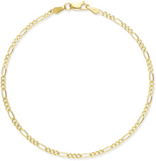 Figaro Anklet, 14K Yellow Gold