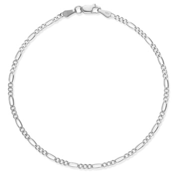 Figaro Anklet. 14K White Gold, 3mm wide