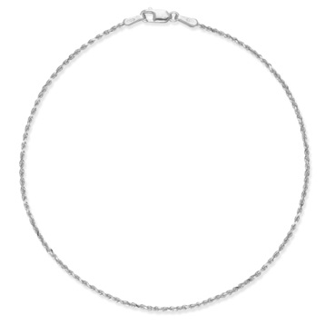14K White Gold Rope Anklet