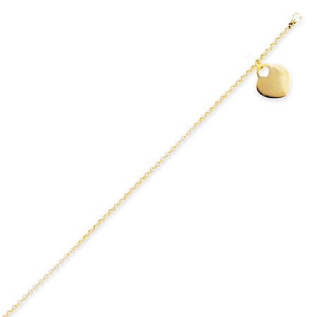 Dangle Polished Heart Charm Anklet in 14K Yellow Gold