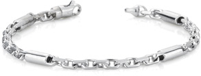 Barrel Link Design Bracelet, 14K White Gold