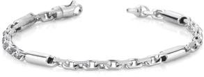 Barrel Link Design Bracelet, 14K White Gold