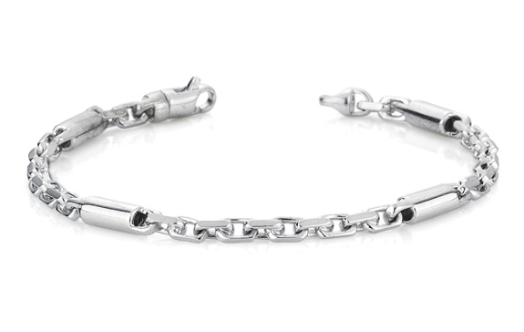 Buy Barrel Link Design Bracelet, 14K White Gold