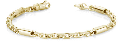 Barrel Link Design Bracelet, 14K Yellow Gold
