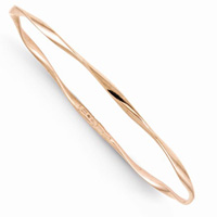 10K Rose Gold Slip-on Twisted Bangle Bracelet