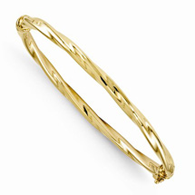 10K Yellow Gold Twisted Hinged Bangle Bracelet