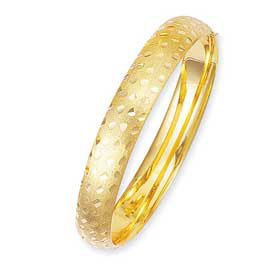 10mm Floral-Pattern Engraved 14k Yellow Gold Bangle Bracelet