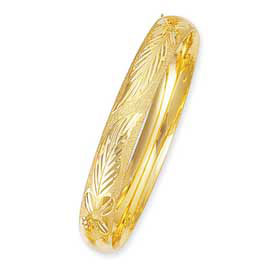 10mm Diamond-Cut 14K Yellow Gold Bangle Bracelet