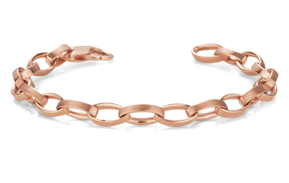Men's Elliptical Link Bracelet, 14K Rose Gold