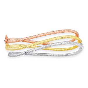 14K Tri-Color Gold Twisted Bangle Bracelet Stackable Set