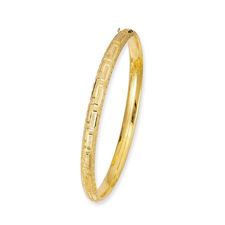 14K Yellow Gold Greek-Key Design Hinged Hollow Bangle Bracelet