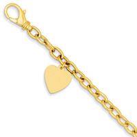 14K Yellow Gold Link with Heart Charm Bracelet