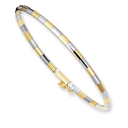 3mm Brick Omega Bangle Bracelet in 14K Two-Tone Gold