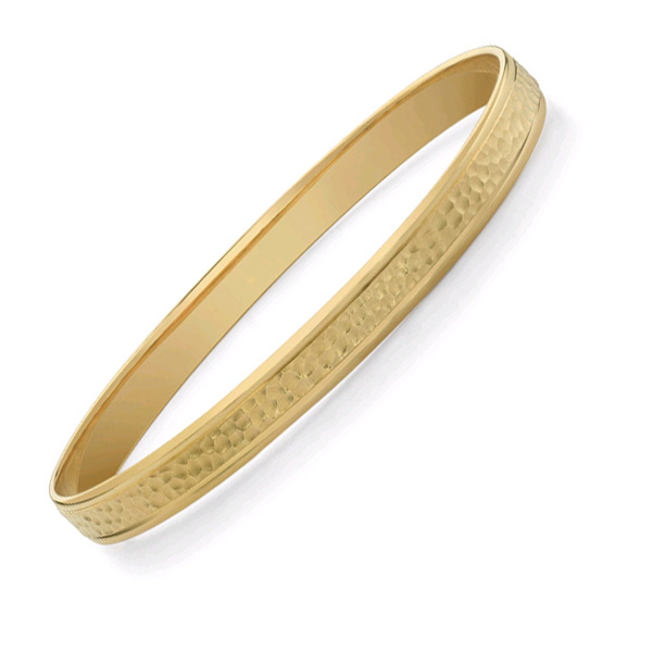 Hammered Bangle Bracelet, 14K Yellow Gold (Bracelets, Apples of Gold)