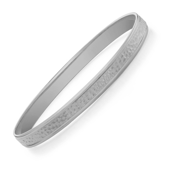 Buy Hammered Bangle Bracelet, 14K White Gold