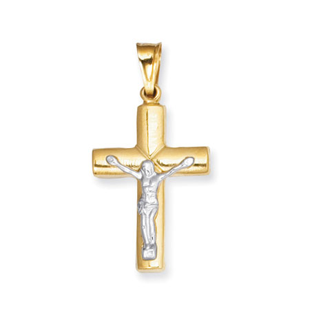 14K Two-Tone Gold Polished Plain Crucifix Pendant