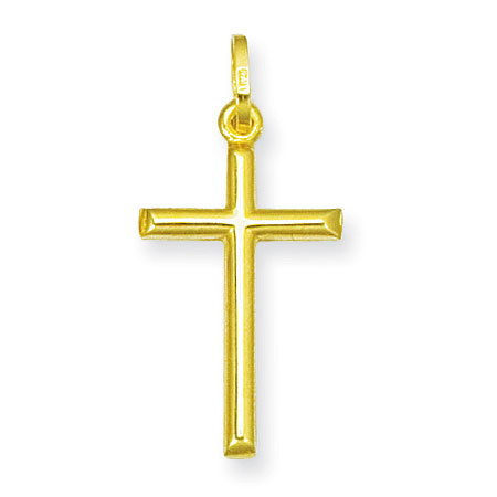 14K Yellow Gold Plain Hollow Cross Pendant
