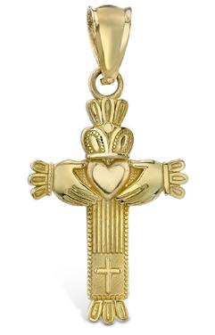 Claddagh Cross Pendant, 14K Yellow Gold