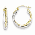 10K Yellow and White Gold Textured Twist Hoop Earrings