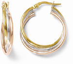 14K Tri-Color Gold Twisted Hoop Earrings