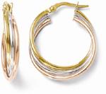 14K Tri-Color Gold Twisted Hoop Earrings