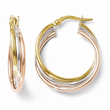 14K TriColor Gold Twisted Hoop Earrings