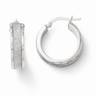 14K White Gold Glimmer Hoop Earrings