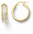 14K Yellow and White Gold Glimmer Hoop Earrings