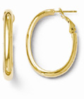 14K Yellow Gold Polished Oval Hoop Earrings