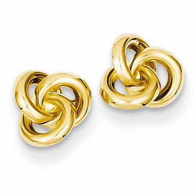 14K Yellow Gold Trinity Love Knot Earrings