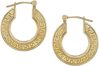 Greek Key Hoop Earrings, 14K Gold