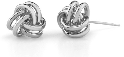 Love Knot Earrings, 14K White Gold