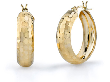 Hammered Hoop Earrings, 14K Gold